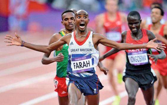 Farah winning gold at the London Olympics in 2012