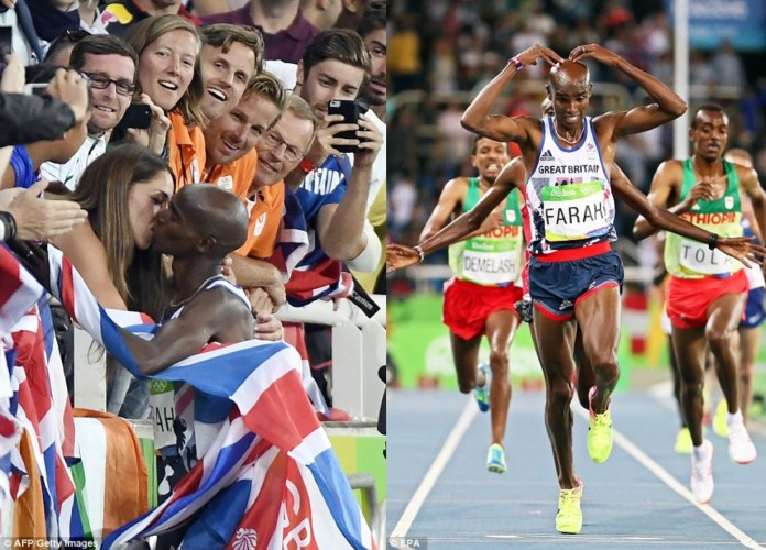 Farah (pictured kissing his wife, Tanya, left) charged past his rivals on the last lap and retained the title he won in London four years ago
