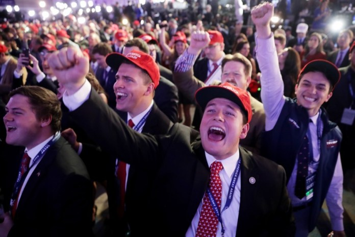 Trump supporters cheer during the election night event at the New York Hilton Midtown. (Chip Somodevilla/Getty Images)