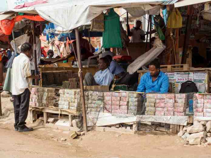 Money Changers In The Street Of Hargeisa Central Market | Saxafi