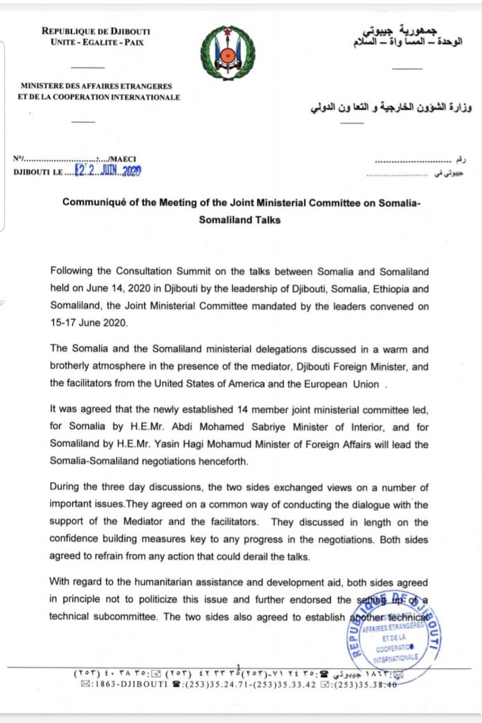 Communiqué Of The Joint Ministerial Committee Meeting On Somalia-Somaliland Talks In Djibouti