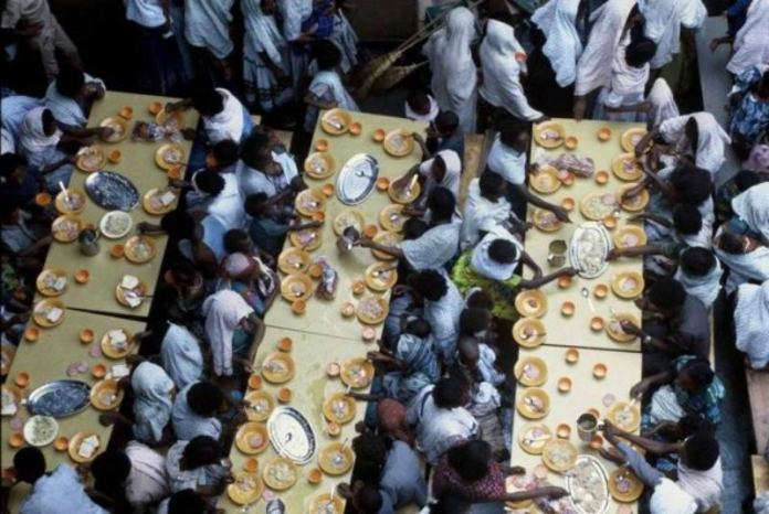 Ethiopian Jews Eating On Board An Israeli Navy Ship