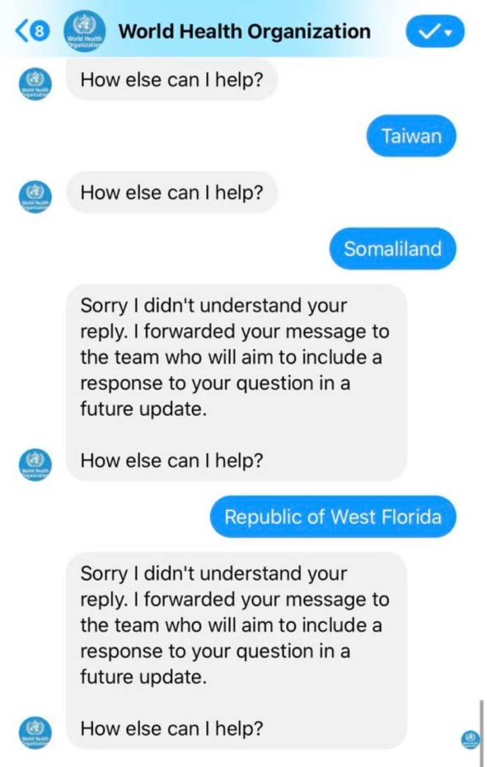 Who Chatbot On Facebook Ignores Taiwan And Somaliland, Politicizing Covid-19 Updates