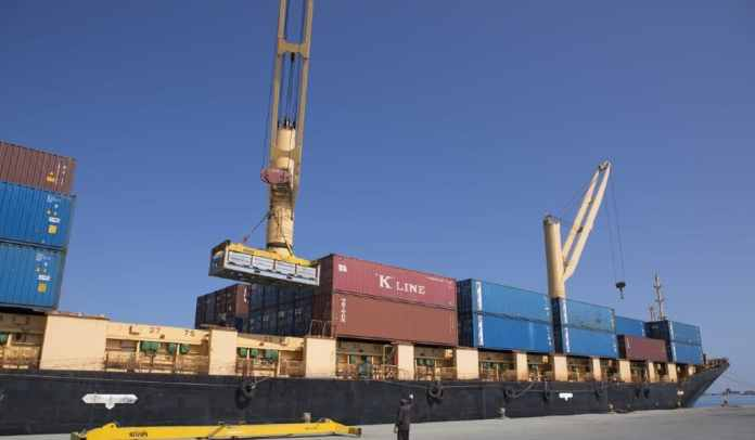A cargo ship in the Port of Berbera in Somaliland