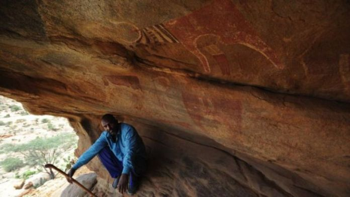 5,000-year-old elaborate rock paintings depicting hunters and animals in Laas Geel in Somaliland