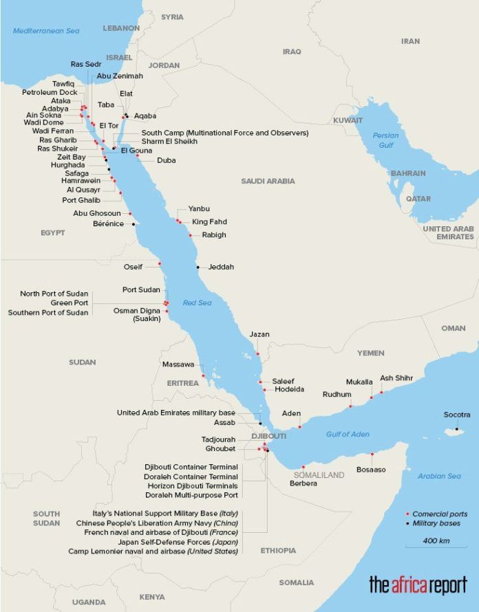 Important points along the Red Sea coast