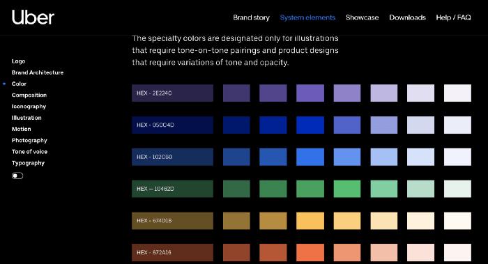 Guía de colores de Uber Brand