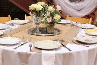 Vintage Plates Make Perfect Place Settings in Haw River Ballroom