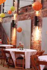 Hanging Lanterns from the Cafe Lights in Haw River Ballroom
