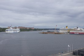 the view from our room's window. it was a busy day at the harbour!
