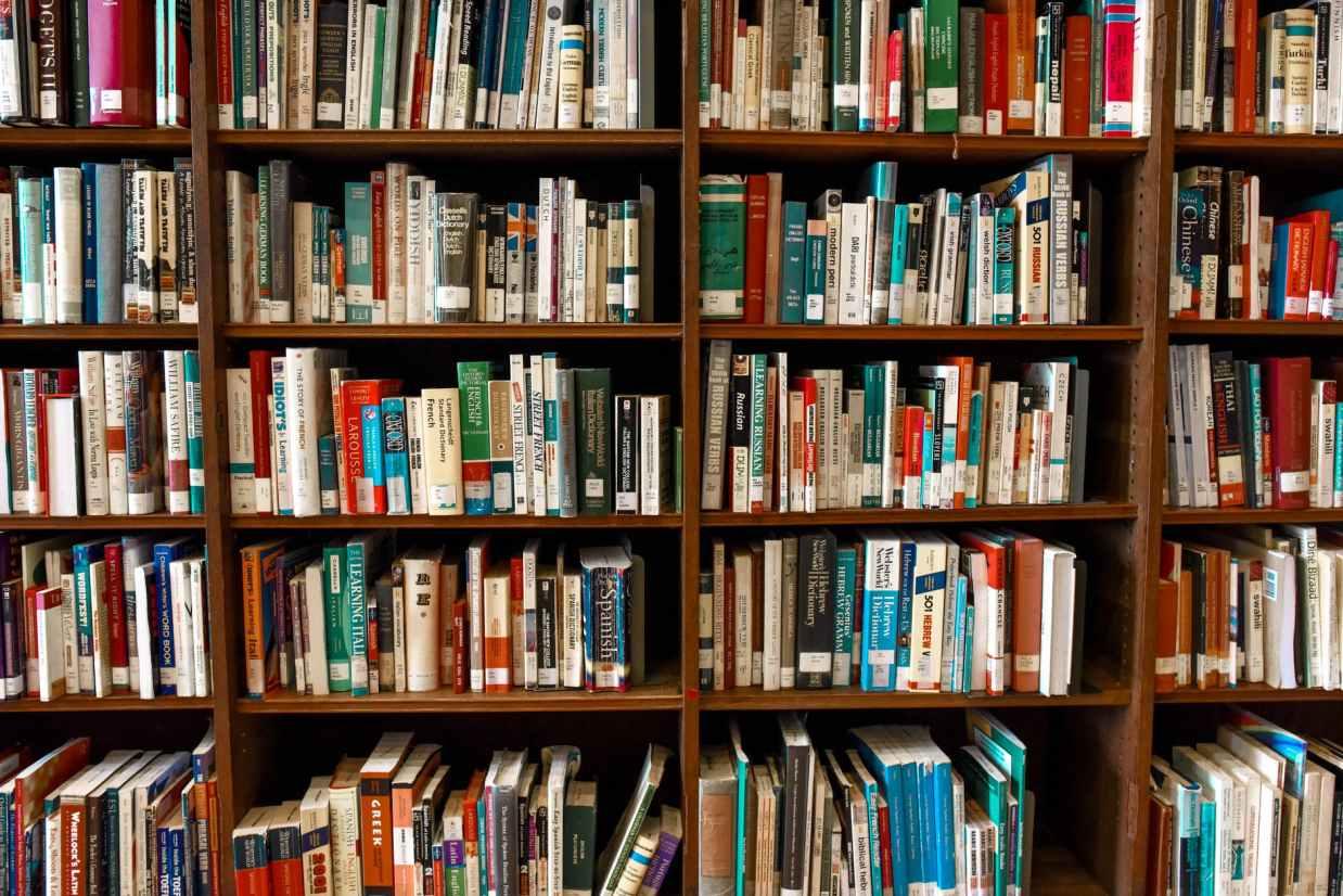 assorted books on shelf