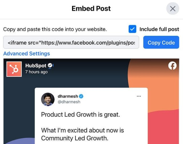 Options for embedding code in a Facebook post