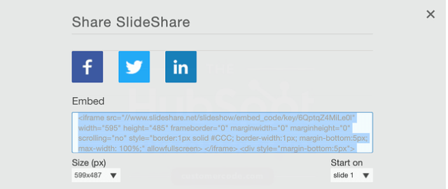 Share SlideShare options with an embed code