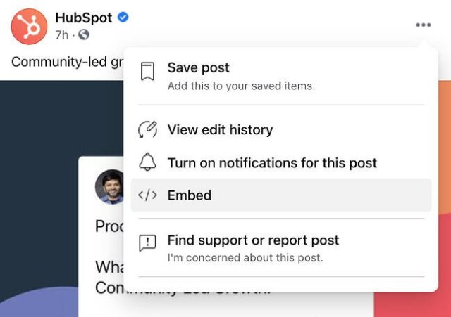 Embed code button in a Facebook post