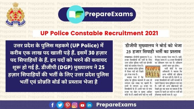 UP Police Constable Recruitment 2021-22: 25,000 Upcoming Vacancy In UP Police