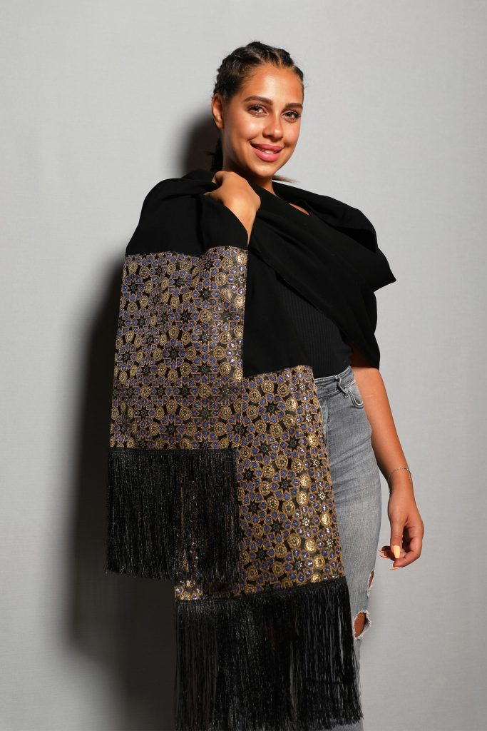 Scarf (shawl) with oriental style – cotton fabric and brocade with lining