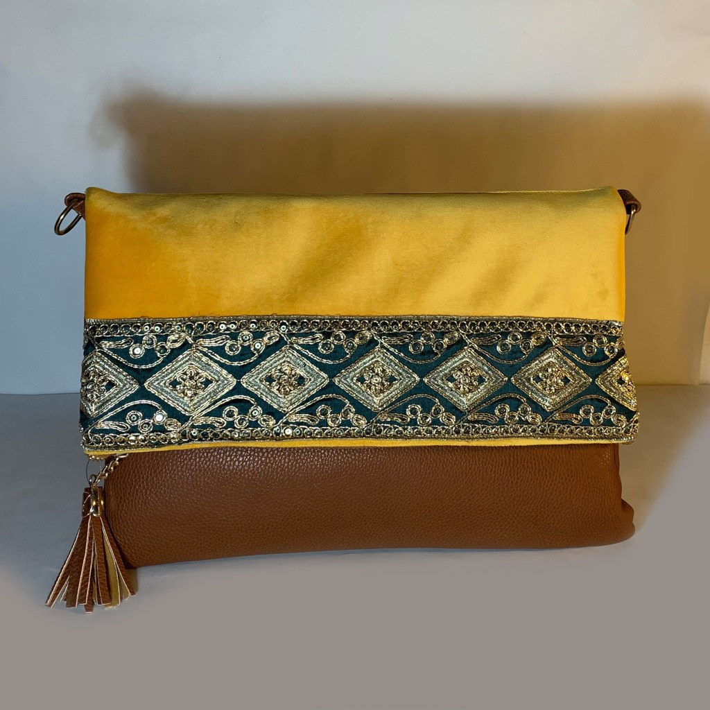 Shoulder foldable bag Chamois fabric & Indian embroidery-C20A-NB27