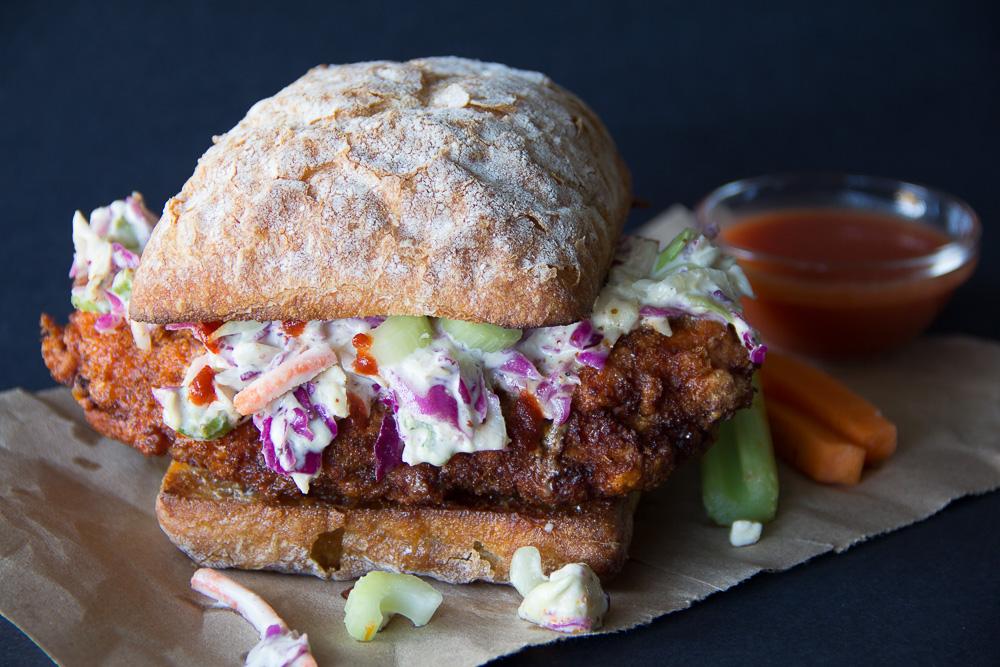 Buffalo Chicken Sandwich with a Gorgonzola Slaw