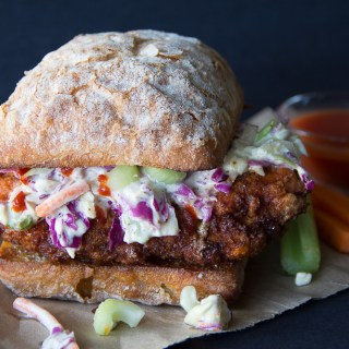 Buffalo Chicken Sandwich with a Gorgonzola Slaw