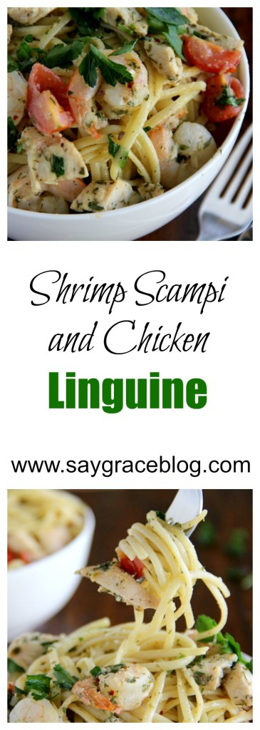 SHRIMP SCAMPI (AND CHICKEN?) LINGUINE
