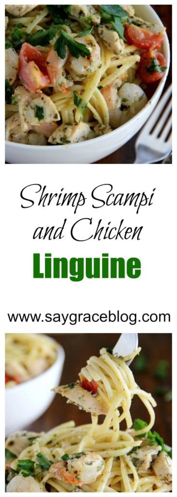 SHRIMP SCAMPI (AND CHICKEN?) LINGUINE