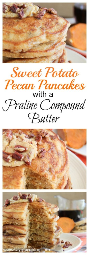 SWEET POTATO PECAN PANCAKES WITH PRALINE BUTTER