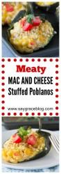 Meaty Mac and Cheese Stuffed Poblanos