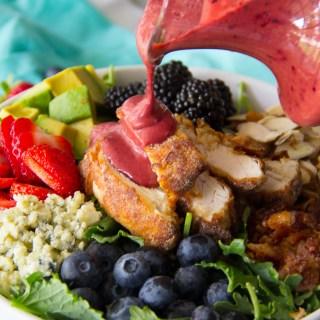 Fried Chicken & Triple Berry Kale Salad