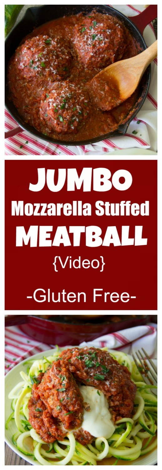Jumbo Mozzarella Stuffed Meatball with Zoodles