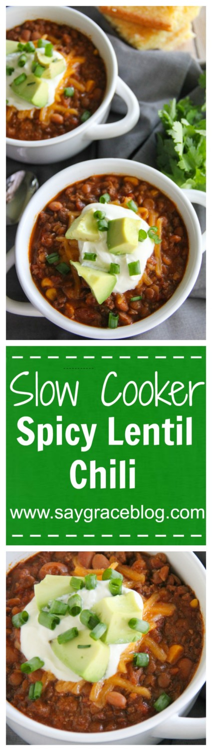 Slow Cooker Spicy Lentil Chili