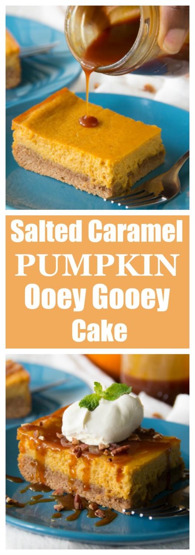 Salted Caramel Pumpkin Ooey Gooey Cake