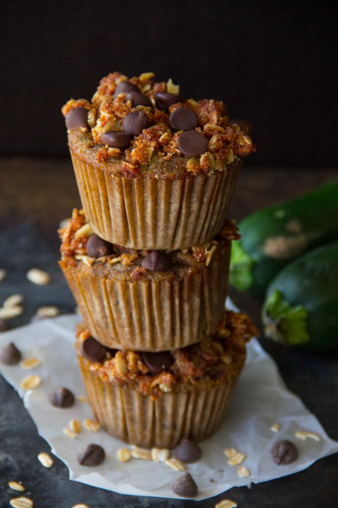 Flourless Chocolate Chip Zucchini Muffins {Gluten Free, Paleo}