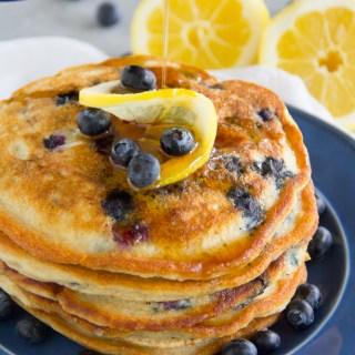 Paleo Lemon Blueberry Pancakes {Gluten Free, Grain Free, Dairy Free}
