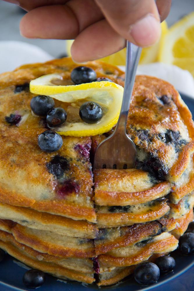 Paleo Lemon Blueberry Pancakes