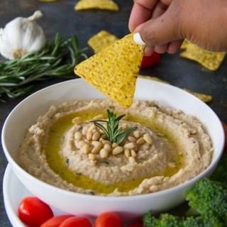 Roasted Garlic & Rosemary White Bean Dip Recipe {Vegan}