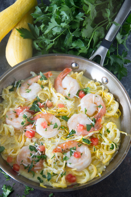 Keto Fettucine Alfredo with Shrimp