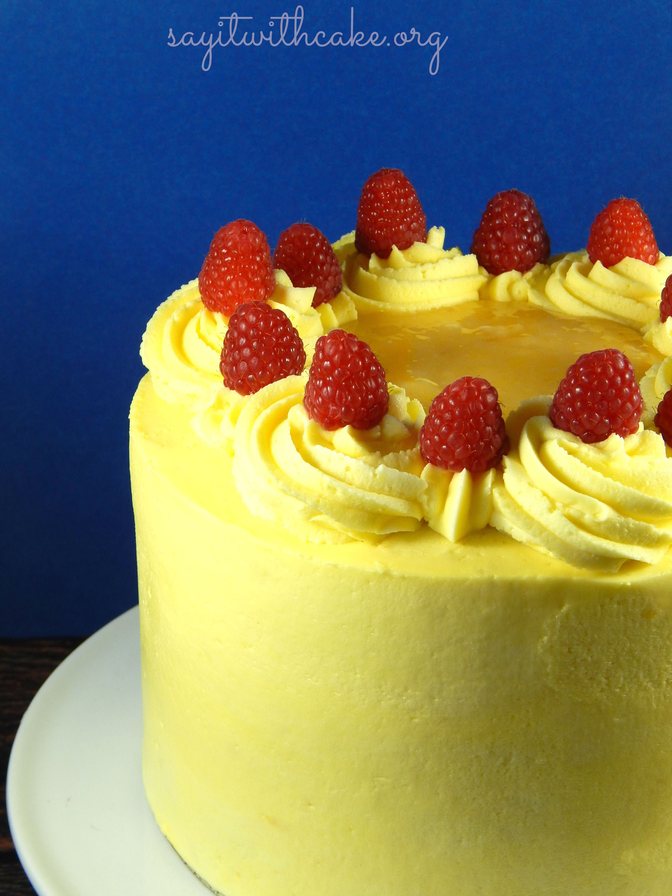 Wasc Lemon Cake With Fresh Raspberry Filling Say It With Cake