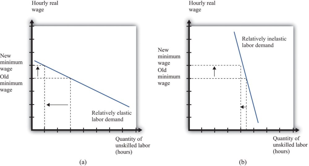 medium resolution of if labor demand is relatively elastic a a change in the minimum wage has a big effect on employment while if labor demand is relatively inelastic b