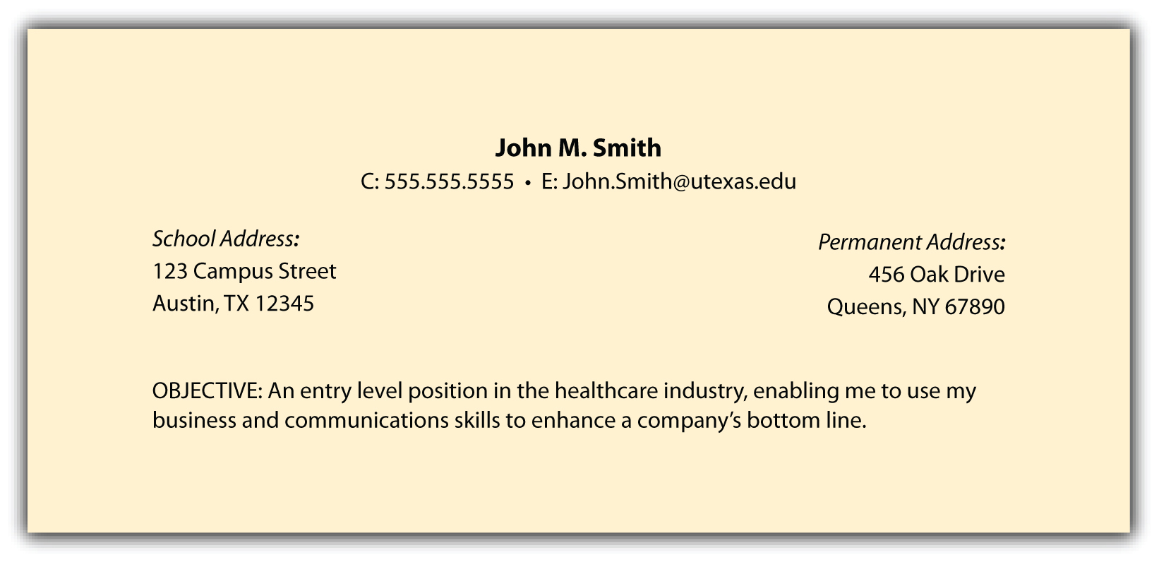 Objective In Resume For Freshers Header And Objective