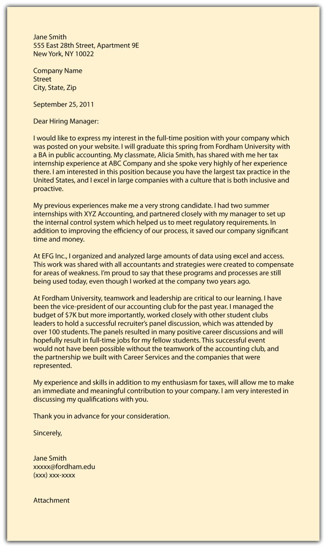 Sle Cover Letter For Working