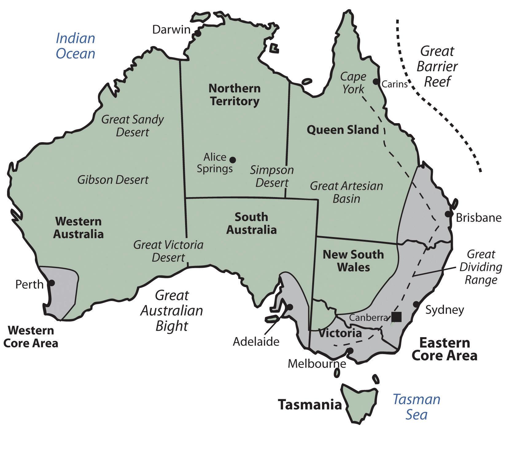 Australien Karte Provinzen