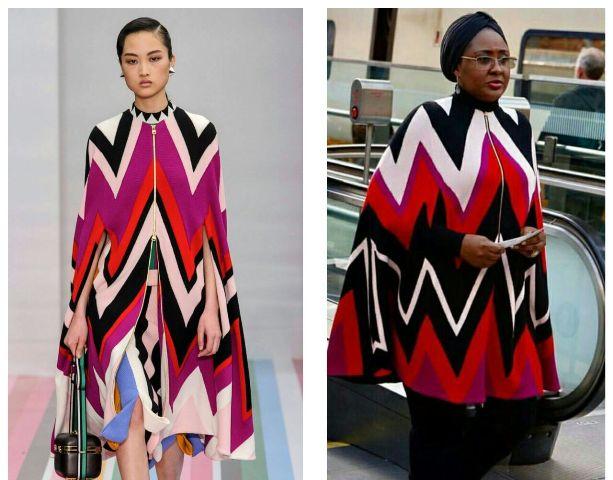 Aisha Buhari Dazzles in Salvatore Ferragamo Fall 2016 Cape Jacket Worth N1.2m