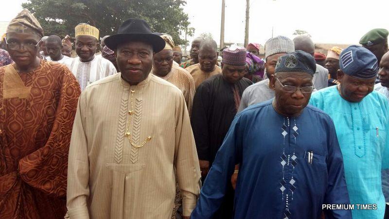 Former President Goodluck Jonathan Meets Former President Olusegun Obasanjo