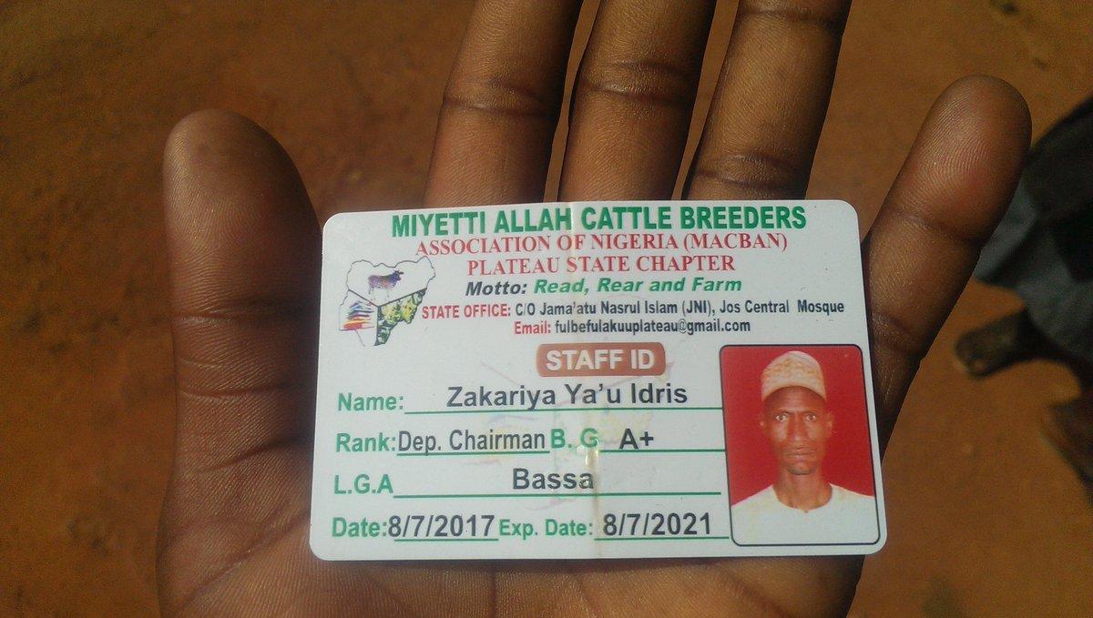Miyetti Allah's Deputy Chairman's ID Card found at scene of Fulani Herdsmen Attack