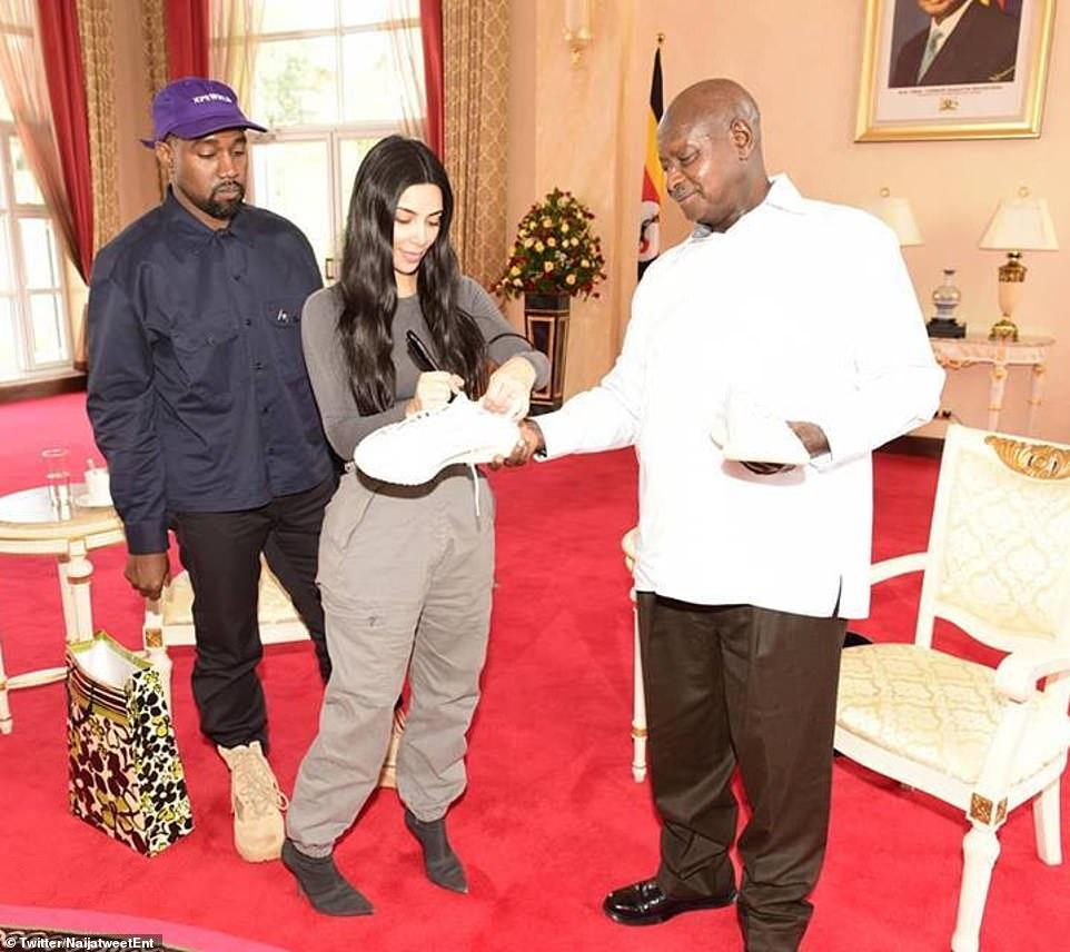 Kanye West & Kim Kardashian meet Ugandan President Museveni, gift him Sneakers