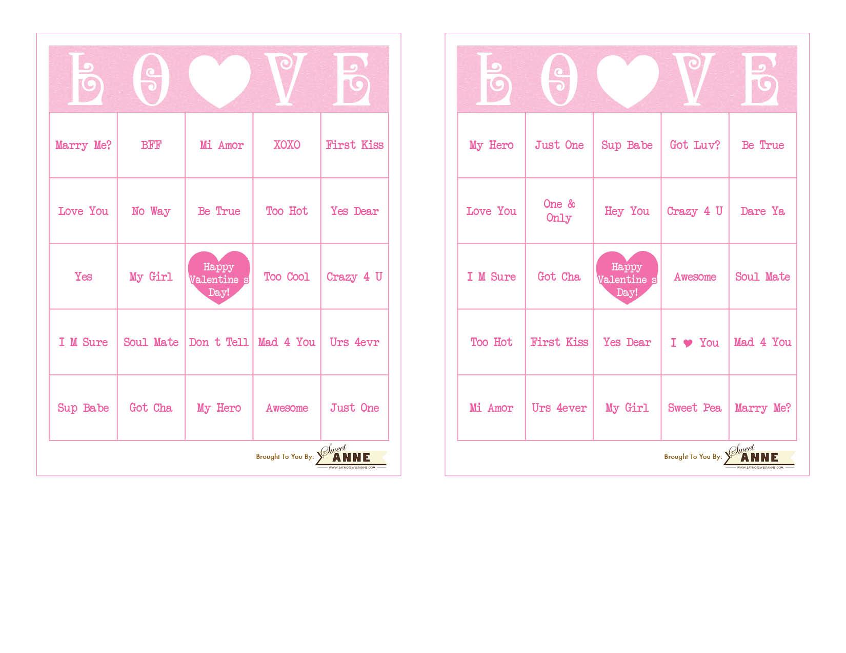 Download Conversation Hearts Bingo