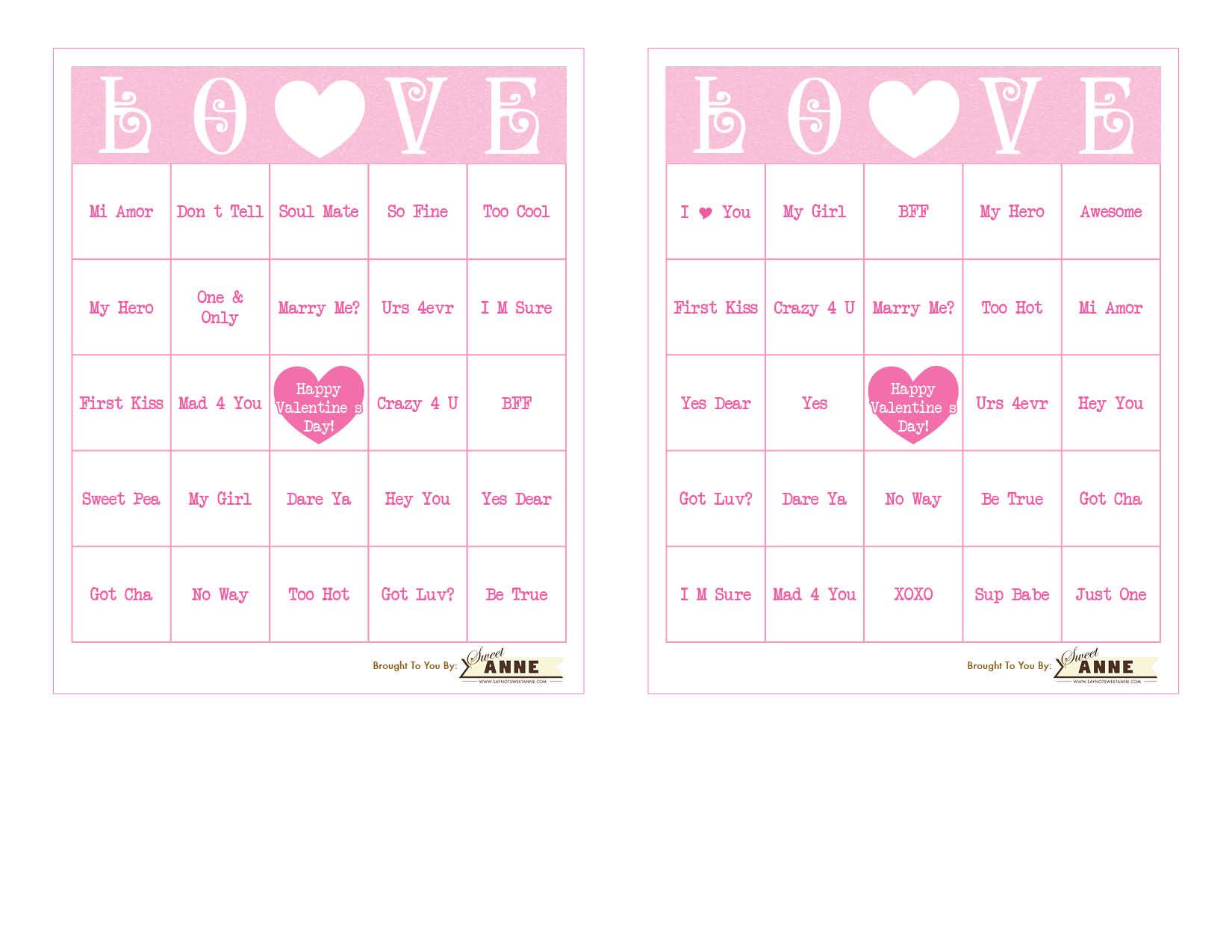 Conversation Heart B I N G O Free Valentine Bingo