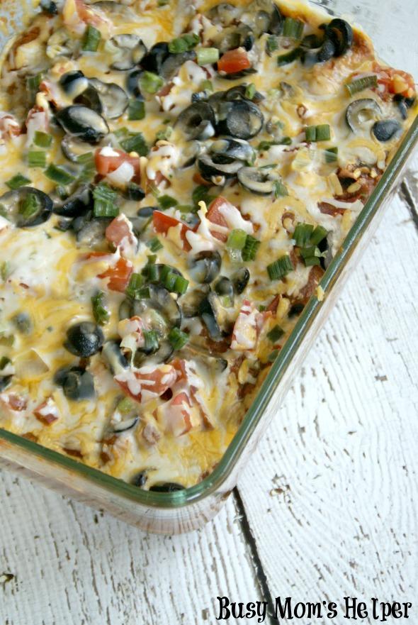 Layered Beef & Veggie Enchiladas / by BusyMomsHelper.com via SayNotSweetAnne.com #enchiladas #beef #simplerecipe