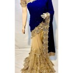 Pure Micro Velvet Wedding Wear Saree In Blue With Embroidery Crystals Stone Work Reception Saree Saree