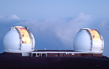 Twin telescopes at Keck Observatory in Hawaii
